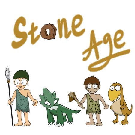 �ge de pierre: Pierre personnes en �ge de vecteur illustration de bande dessin�e