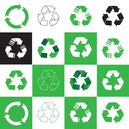 reciclar basura: Colección del icono de reciclaje. ilustración vectorial