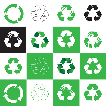 recycling symbol: Collection of recycle icon. vector illustration Illustration