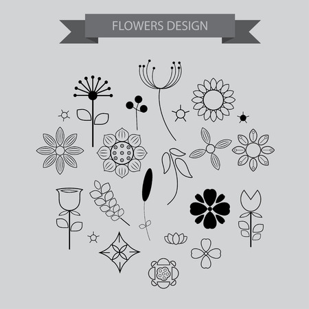Flower design elements icons with outline style ,vector illustration Ilustrace