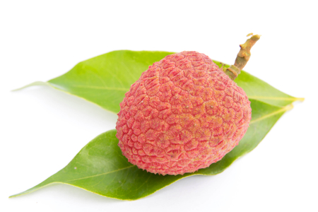 litchee: Lychee fruit on white background