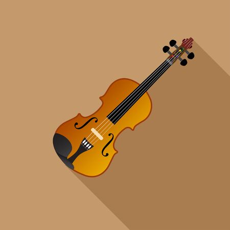 Violin on a Brown background, vector illustration