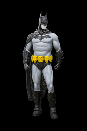 Phayao,Thailand - October 18, 2015: Batman statue isolate on a black background