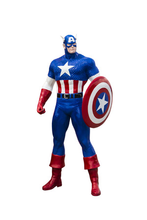 Phayao,Thailand - October 18, 2015: Statue Captain America on a white background
