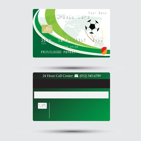 green card: Detail credit card with football soccer isolated on white background, illustration