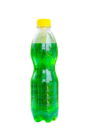 aerated: bottles with tasty drinks, isolate on white background