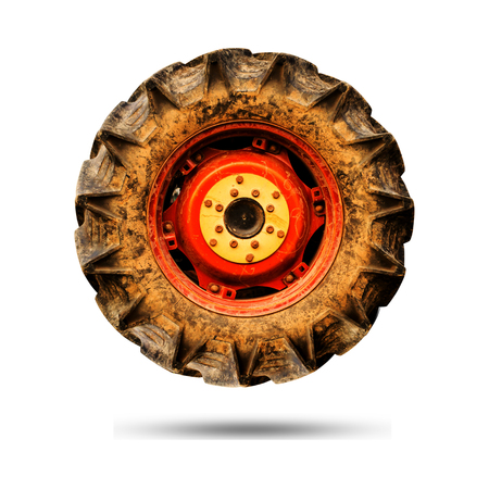 Tractor wheel isolate on white background