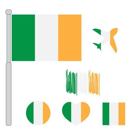Ilustración de vector de bandera de Irlanda. Bandera de Irlanda. Bandera nacional de Irlanda.
