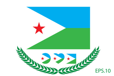 Official vector flag of Djibouti. Eps.10