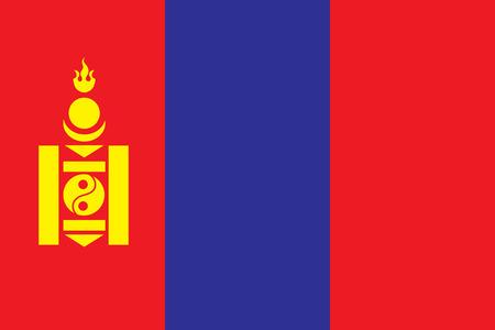 Vector illustration of Mongolia flag. Çizim