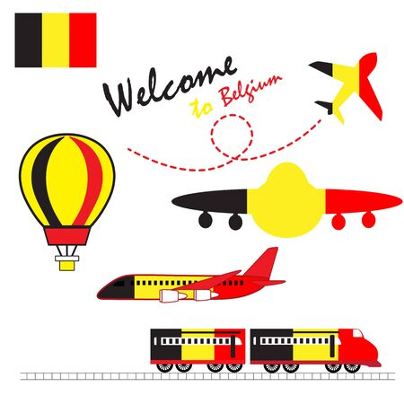 Belgium flag, Belgium, Travel to Belgium. Visit to Belgium with airplane, balloon, and train. Vector illustration.
