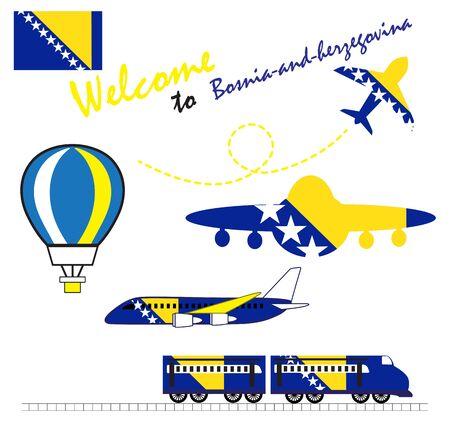 Vlag van Bosnië en Herzegovina, Bosnië en Herzegovina, Reizen naar Bosnië en Herzegovina. Bezoek aan Bosnië en Herzegovina met vliegtuig, ballon en trein. Vector illustratie