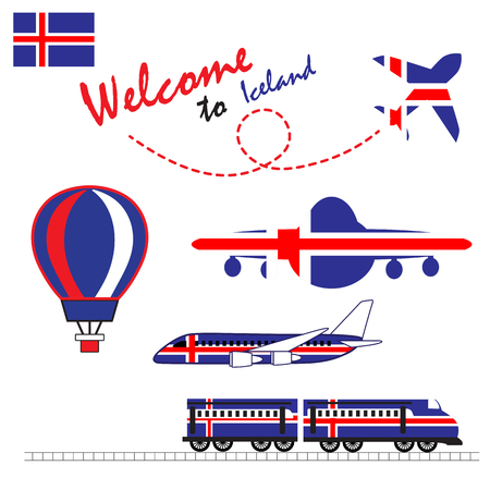 Iceland flag, Iceland, Travel to Iceland. Visit to Iceland with airplane, balloon, and train vector illustration. Illustration