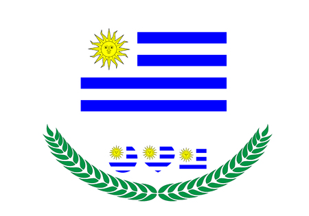 Uruguay Flag vector illustration. Uruguay Flag. National Flag of uruguay on white background