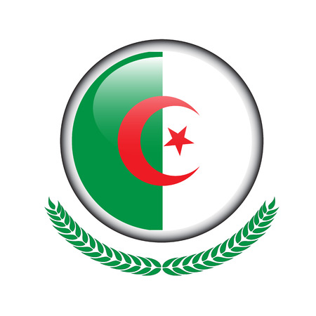 Algeria flag button. Algeria flag icon. Vector illustration of Algeria flag on white background. Illustration