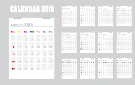 Vector calendar template design 2019 .Vector illustration Illustration
