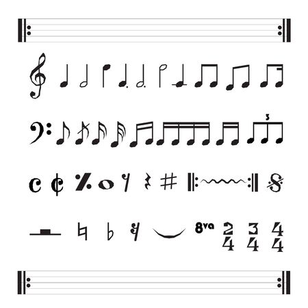 Set of various black musical note icon isolated on white background. Vector illustration for music design.
