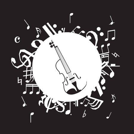 Vector illustration of vintage violin on black background