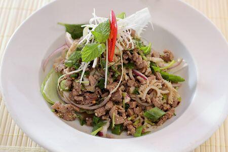 isaan: Larb mince beef salad.Traditional Thai food