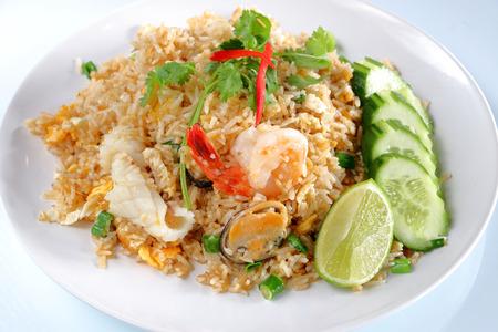 thai food: seafood freid rice with cucumber, thai food