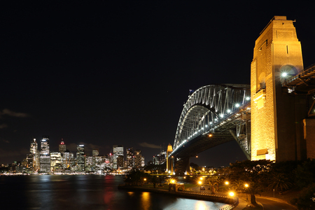 nightshot: Sydney Harbour Bridge and cityscape with nightshot at look out point