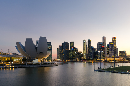 city scene: Singapore city Marina bay point of view
