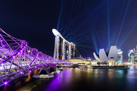 southeast asia: Wonderful laser show the largest light and water spectacle in Southeast Asia Marina bay point of view Singapore Editorial