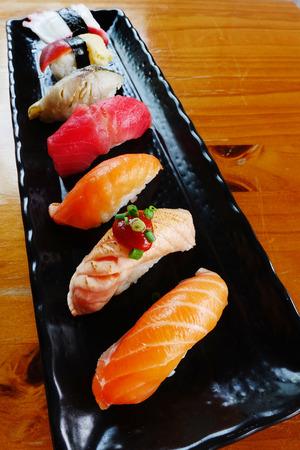 Japanese food - Sushi of salmon & tuna sushi Stock Photo