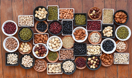 collection of different legumes for background Stock Photo