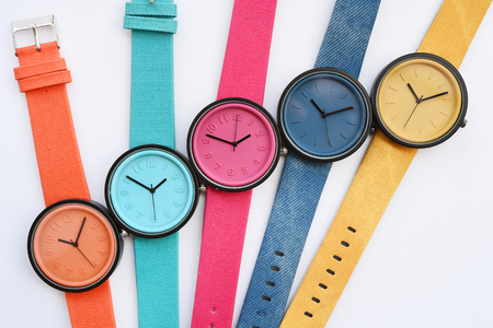 Set of multicolored wristwatches isolated on white background Stock Photo
