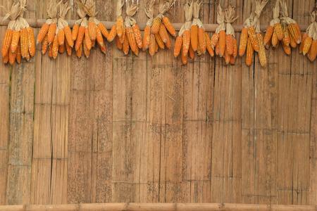 Dry corn cob hanging on bamboo rail at wooden wall.