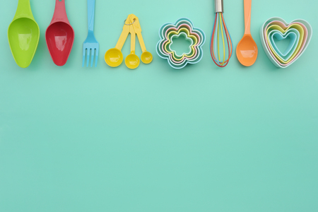 close up of baking utensils tools and cooking concept for background Stok Fotoğraf