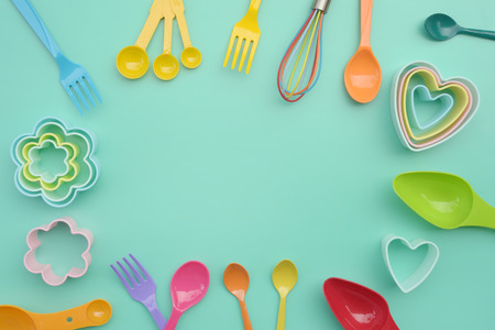close up of baking utensils tools and cooking concept for background