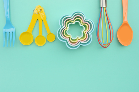 close up of baking utensils tools and cooking concept for background Stock Photo