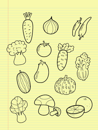 Freehand drawing vegetables  Vector