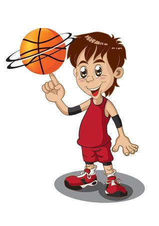 漫画のバスケット ボール選手のイラスト  イラスト・ベクター素材