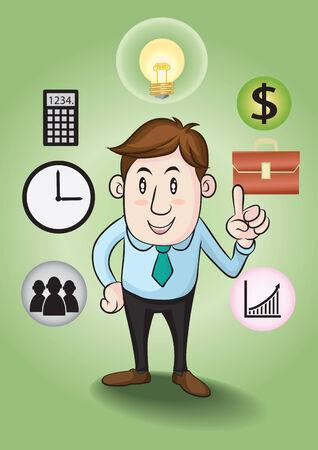 financial success: Gesch�ftsmann und Konzepte zum finanziellen Erfolg. Illustration
