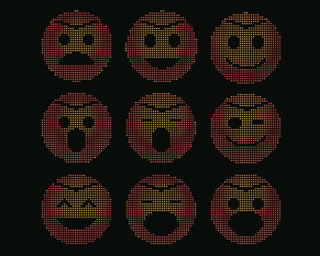mosaic icons of smiley faces isolate on black. Vector
