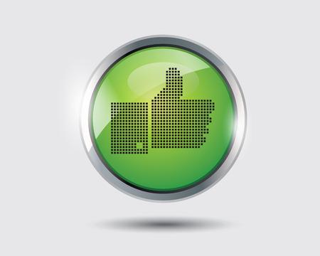 smarthone: thumb up green circle web icon. on white background