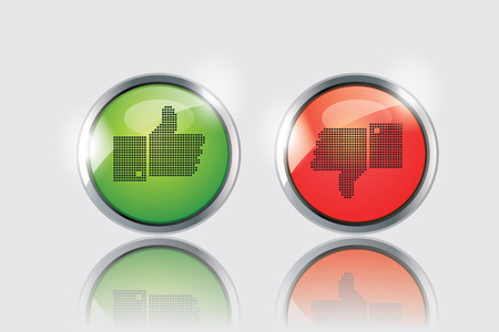 ok button: thumbs up and down glossy buttons on white background. Illustration