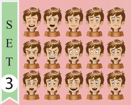 Boy Expressions. Funny cartoon and vector character. Vector