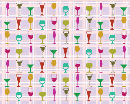 Vector background with colorful wine glasses.  Vector