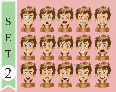 Boy Expressions  Funny cartoon and vector character  Vector
