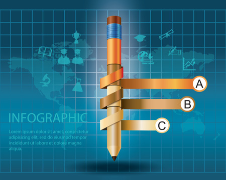 education choice: infographic Template with pencil   concept vector illustration