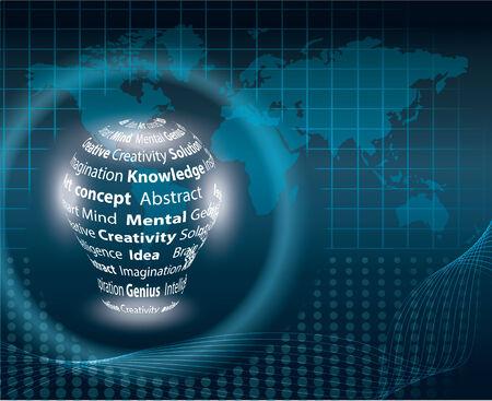コピー テキストのベクトル図を世界地図上の電球  イラスト・ベクター素材