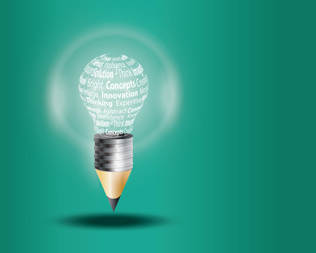 Innovate business concept made with words on light bulb Vector