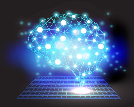 creative brain: Creative brain concept background with triangular grid