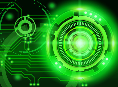 Mechanical abstract background on green background. Vector