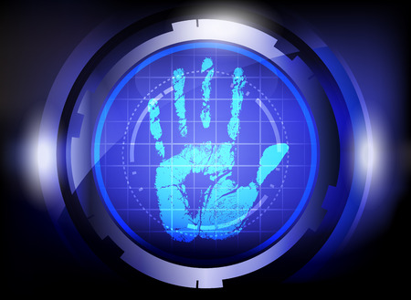 scan handprint technology on blue background  Vector