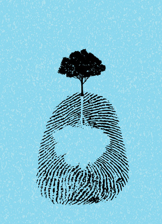 black tree silhouette on fingerprint isolate on sky blue